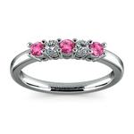 Five Diamond & Pink Sapphire Wedding Ring in White Gold (1/3 ctw) | Thumbnail 02