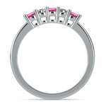 Five Diamond & Pink Sapphire Wedding Ring in White Gold (1/3 ctw) | Thumbnail 03