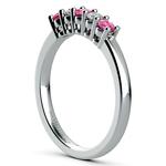 Five Diamond & Pink Sapphire Wedding Ring in White Gold (1/3 ctw) | Thumbnail 04
