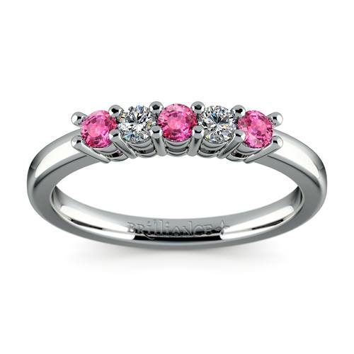 five diamond pink sapphire wedding ring in platinum 13 ctw - Sapphire Wedding Ring