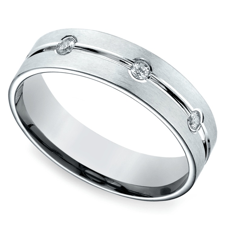Diamond Eternity Men's Wedding Ring in White Gold | 01