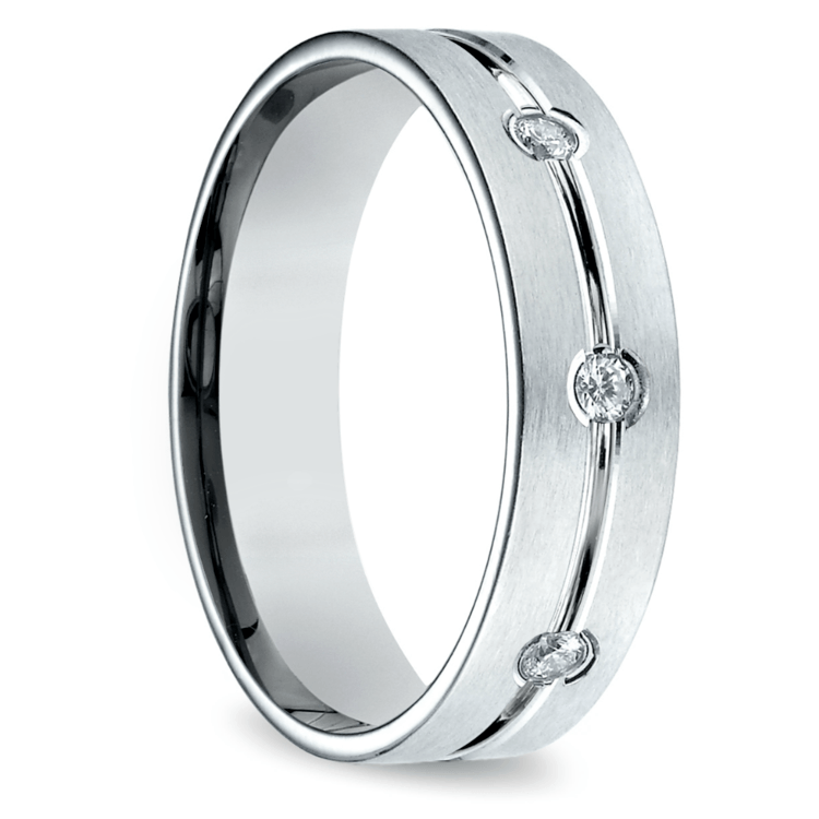 Diamond Eternity Men's Wedding Ring in White Gold | 02