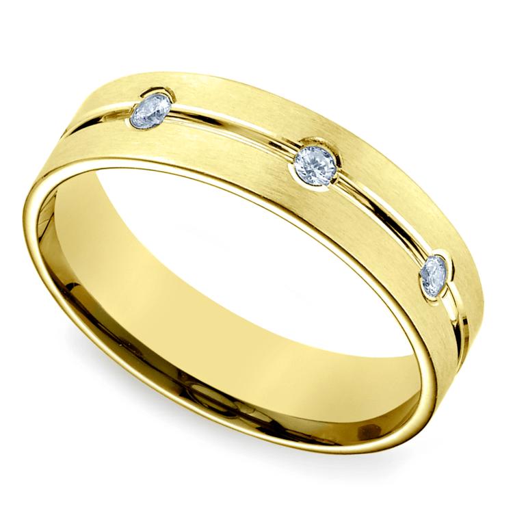Diamond Eternity Men's Wedding Ring in Yellow Gold | 01
