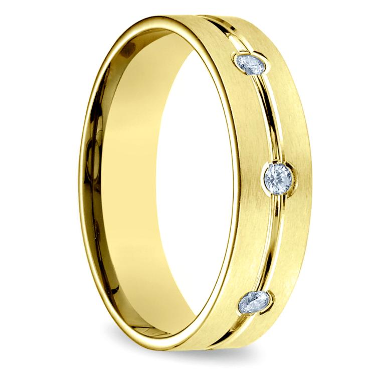 Diamond Eternity Men's Wedding Ring in Yellow Gold | 02