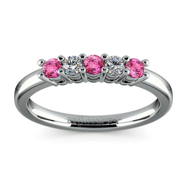Five Diamond & Pink Sapphire Wedding Ring in Platinum (1/3 ctw) | 02