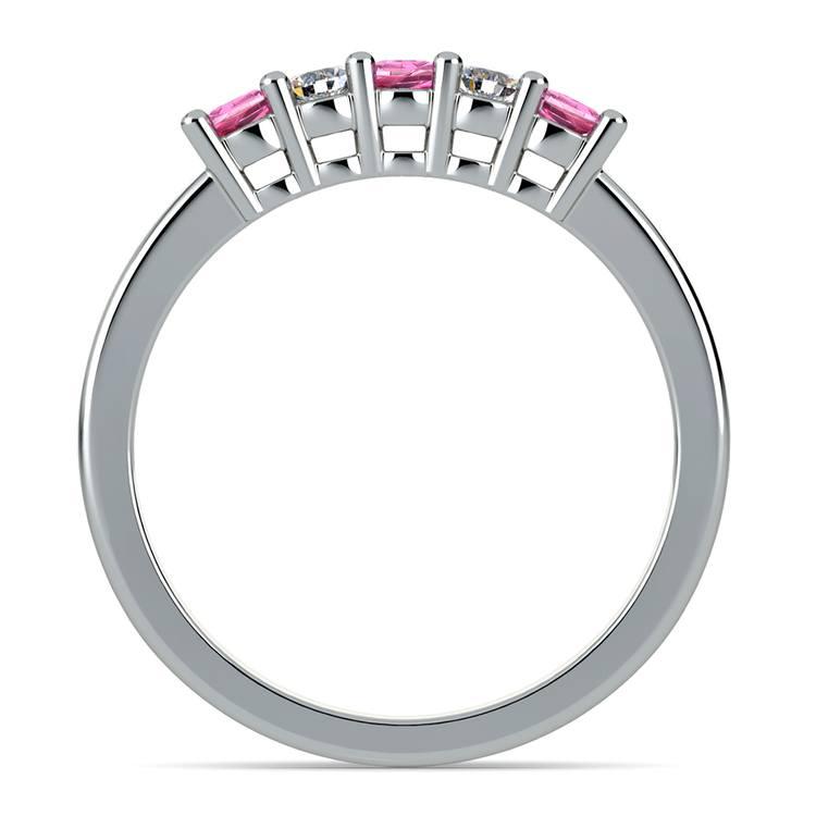 Five Diamond & Pink Sapphire Wedding Ring in Platinum (1/3 ctw) | 03