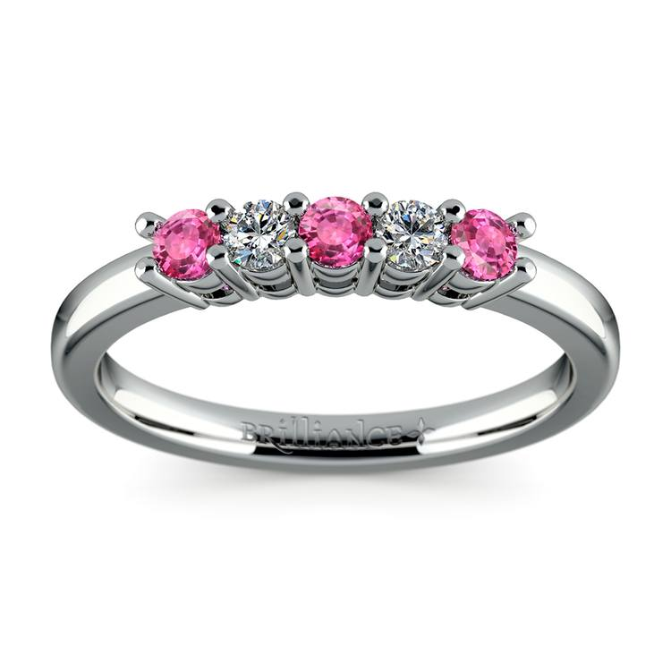 five diamond u0026 pink sapphire wedding ring in white gold 13 ctw
