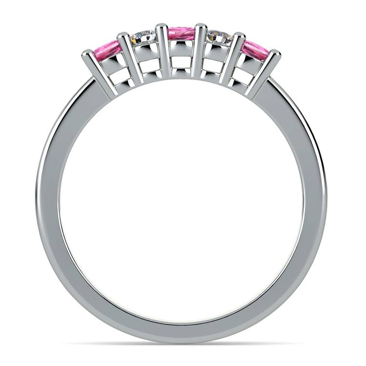 Five Diamond & Pink Sapphire Wedding Ring in White Gold (1/3 ctw) | 03