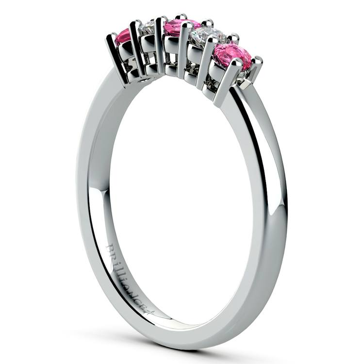 Five Diamond & Pink Sapphire Wedding Ring in White Gold (1/3 ctw) | 04