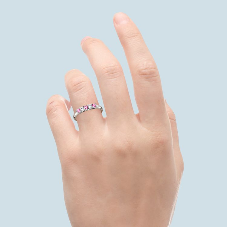 White Gold Five Stone Pink Sapphire And Diamond Ring (1/3 Ctw)   06