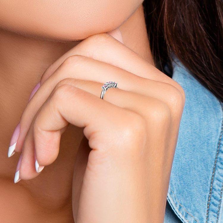 Platinum Five Stone Pink Sapphire And Diamond Ring (1/3 Ctw)   07