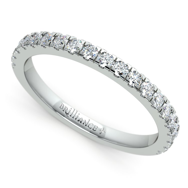 Petite Pave Diamond Wedding Ring in White Gold (1/3 ctw) | 01