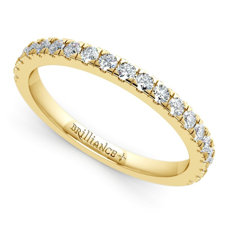 Petite Pave Diamond Wedding Ring in Yellow Gold (1/3 ctw) | 01