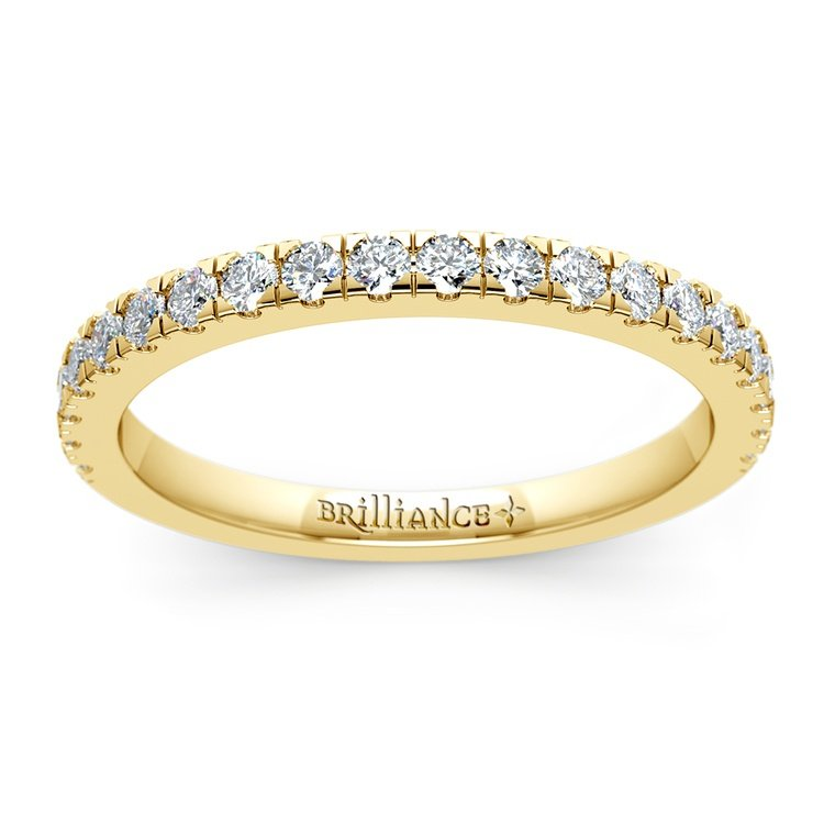 Petite Pave Diamond Wedding Ring in Yellow Gold (1/3 ctw) | 02