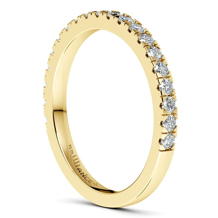Petite Pave Diamond Wedding Ring in Yellow Gold (1/3 ctw) | 05