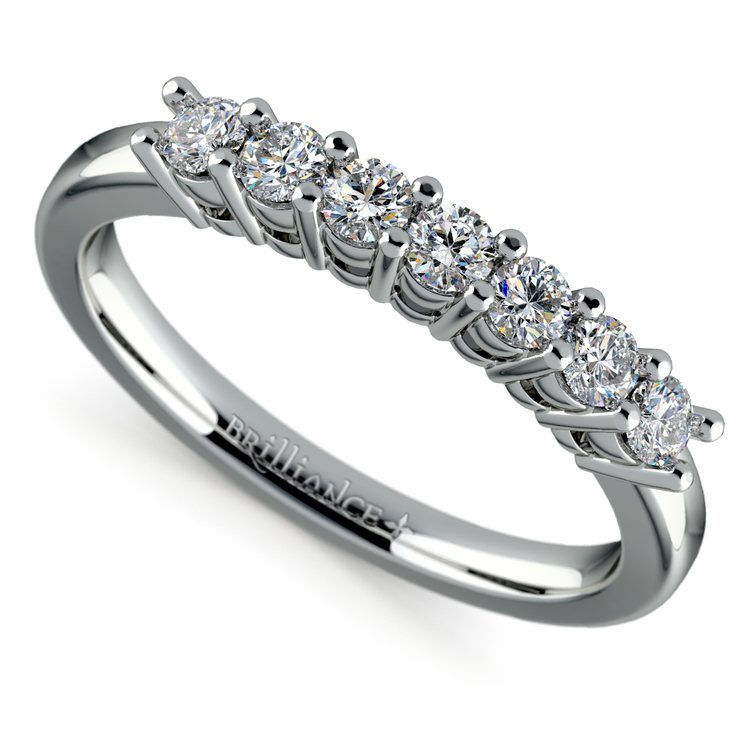 Seven Diamond Wedding Ring in White Gold (1/3 ctw) | 01