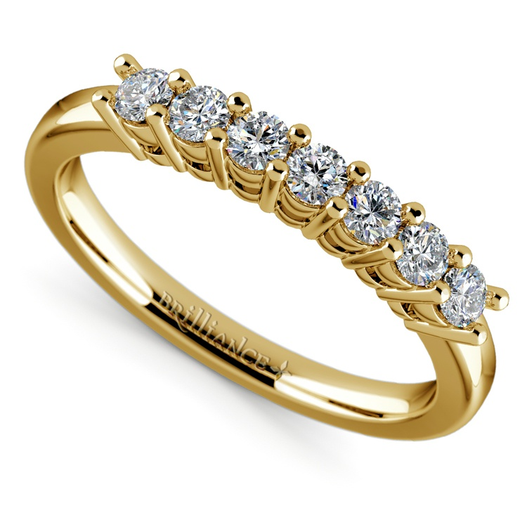 Seven Diamond Wedding Ring in Yellow Gold (1/3 ctw) | 01