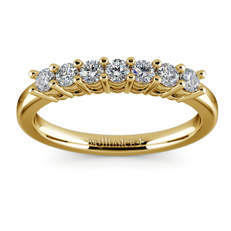 Seven Diamond Wedding Ring in Yellow Gold (1/3 ctw) | 02