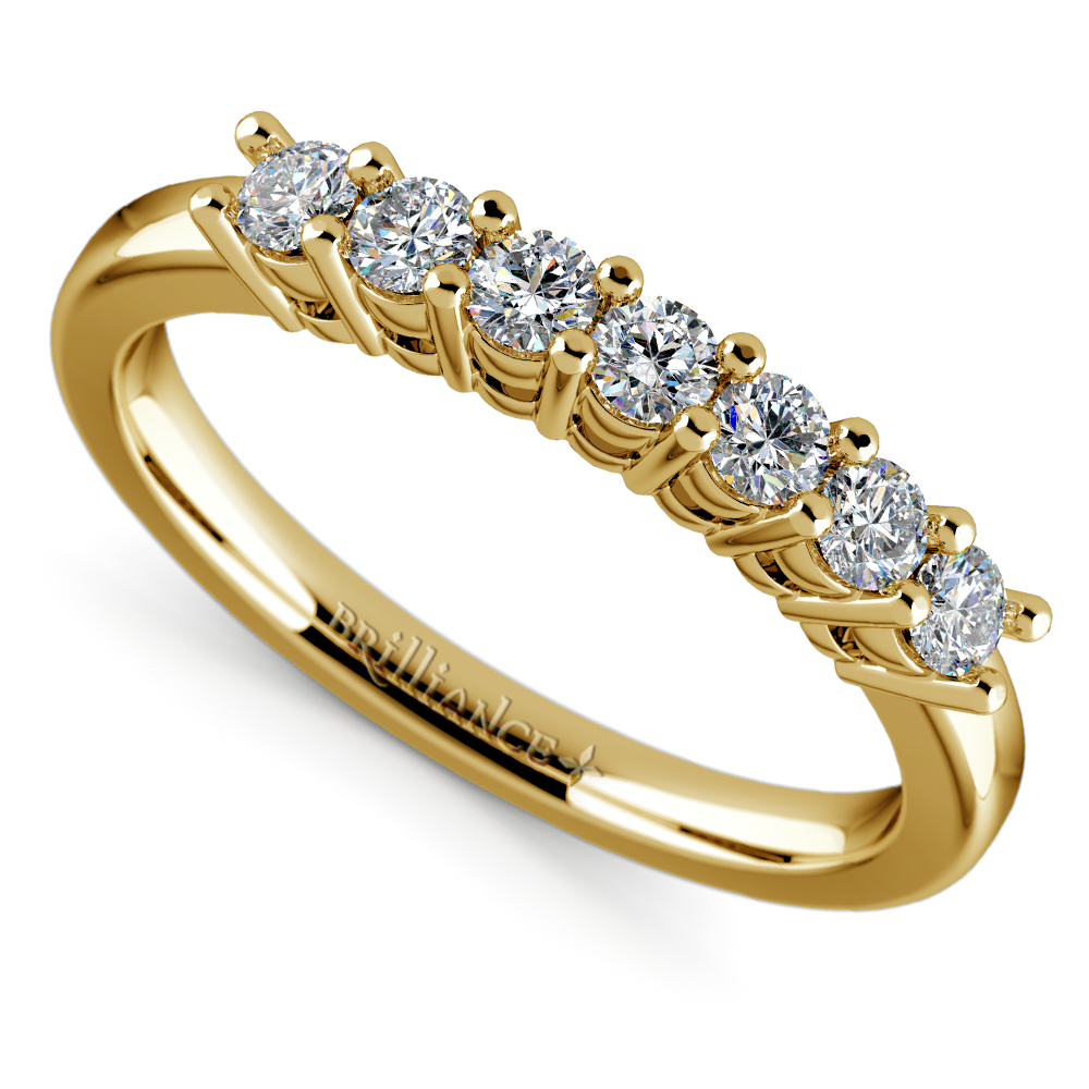 Seven Diamond Wedding Ring In Yellow Gold 1 3 Ctw