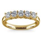 Five Diamond Wedding Ring in Yellow Gold (3/4 ctw) | Thumbnail 02