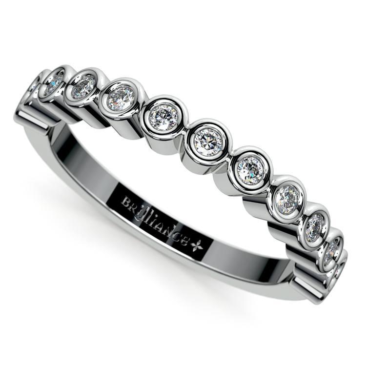 Bezel Diamond Wedding Ring in White Gold  | 01