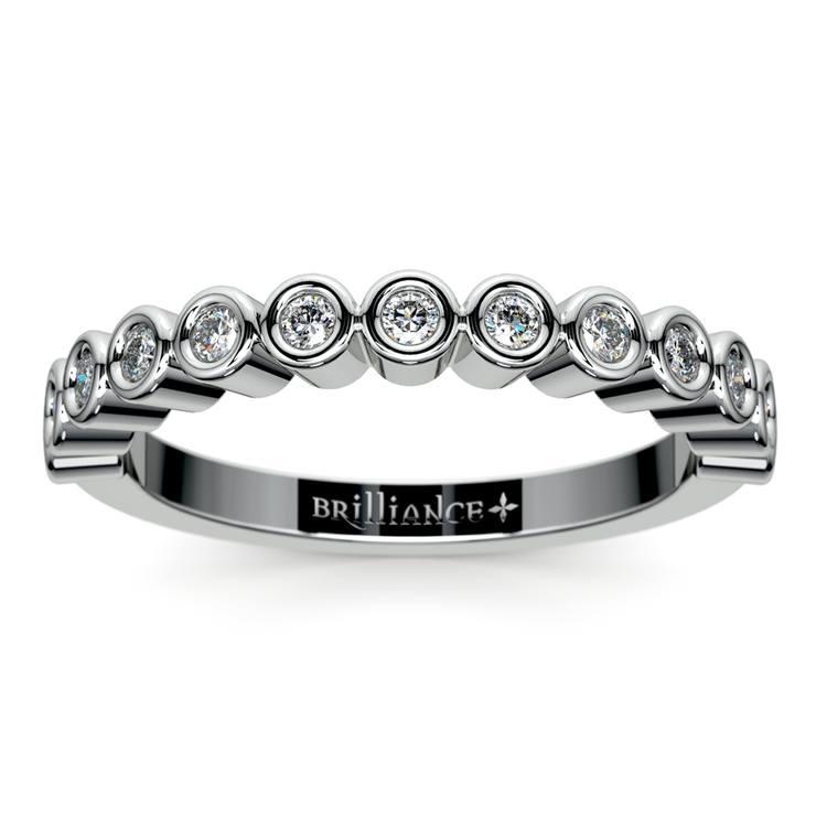 Bezel Diamond Wedding Ring in White Gold  | 02