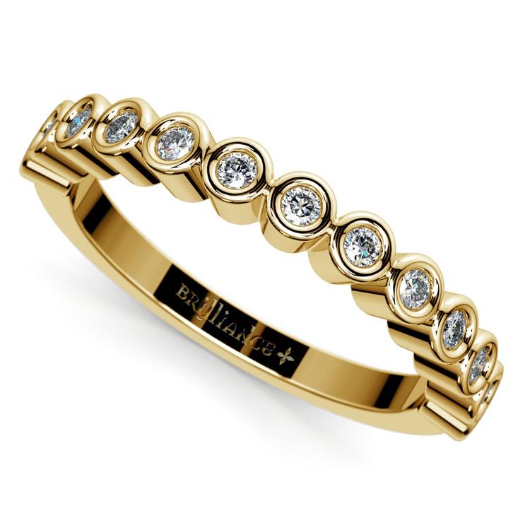 Bezel Diamond Wedding Ring in Yellow Gold  | 01