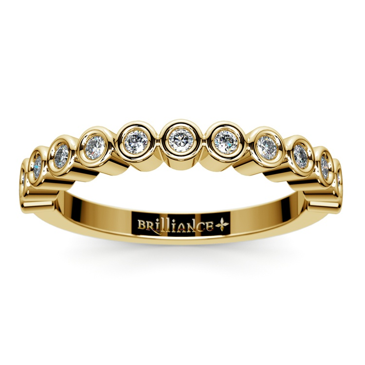Bezel Diamond Wedding Ring in Yellow Gold  | 02