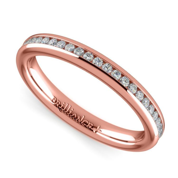 Channel Diamond Wedding Ring in Rose Gold (1/4 ctw) | 01