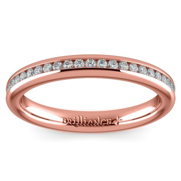 Channel Diamond Wedding Ring in Rose Gold (1/4 ctw) | 02