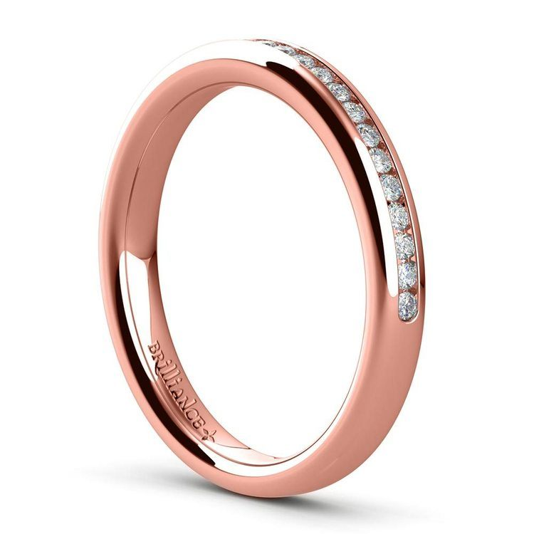 Channel Diamond Wedding Ring in Rose Gold (1/4 ctw) | 04