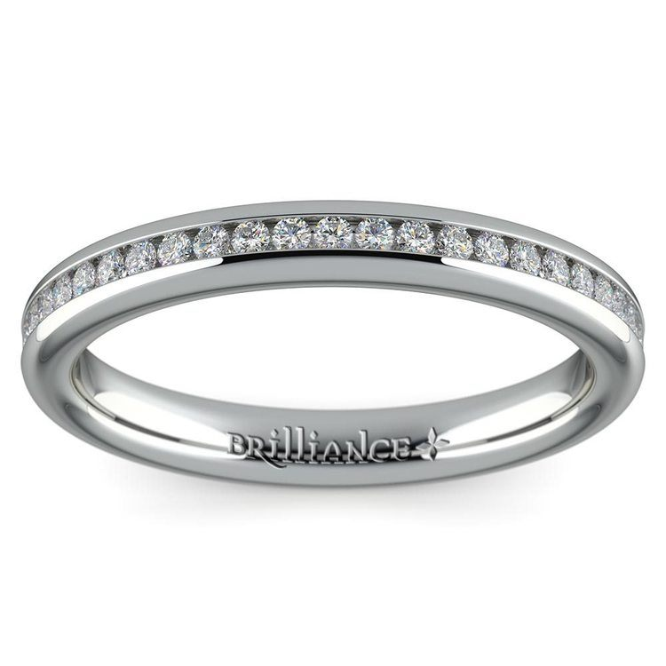 Channel Diamond Wedding Ring in White Gold (1/4 ctw) | 02