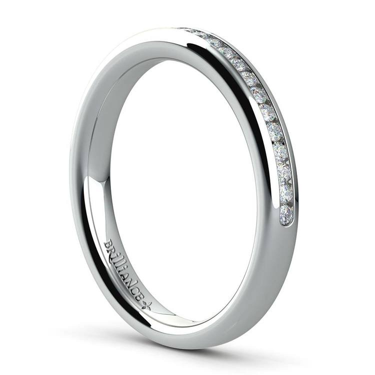 Channel Diamond Wedding Ring in White Gold (1/4 ctw) | 04