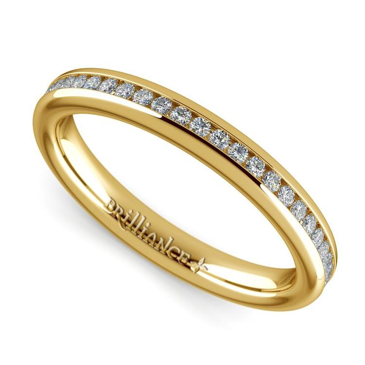 Channel Diamond Wedding Ring in Yellow Gold (1/4 ctw) | 01