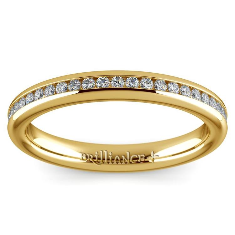 Channel Diamond Wedding Ring in Yellow Gold (1/4 ctw) | 02