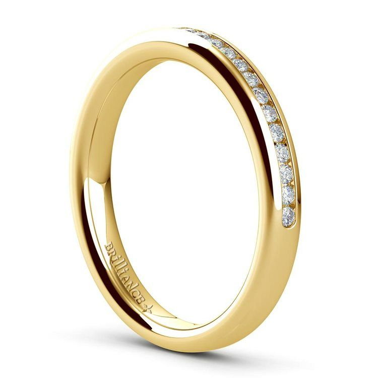 Channel Diamond Wedding Ring in Yellow Gold (1/4 ctw) | 04