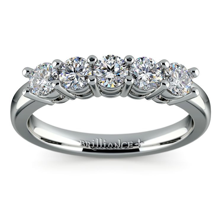 Five Diamond Wedding Ring in Platinum (3/4 ctw) | 02