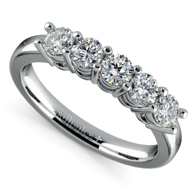 Five Diamond Wedding Ring in White Gold (3/4 ctw) | 01