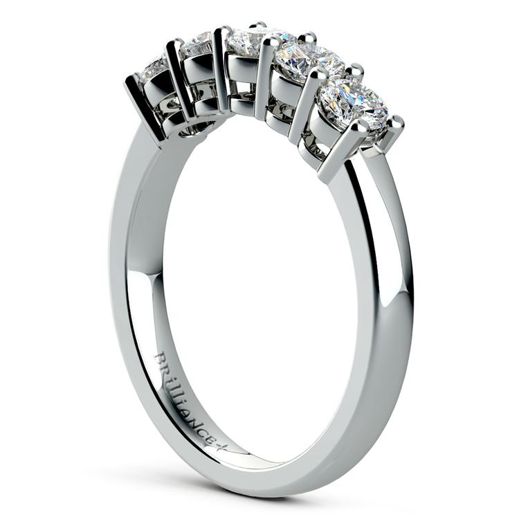 Five Diamond Wedding Ring in White Gold (3/4 ctw) | 04