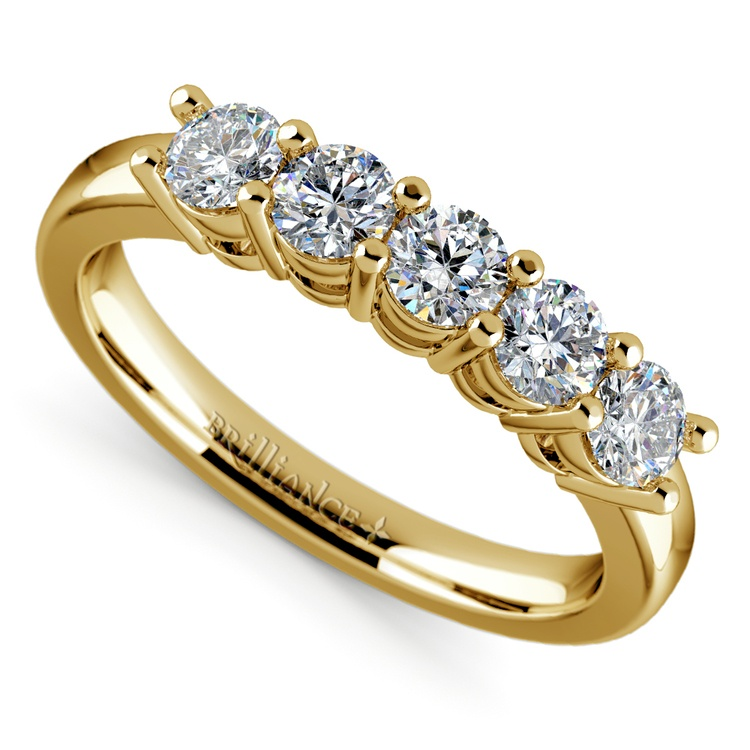 Five Diamond Wedding Ring in Yellow Gold (3/4 ctw) | 01