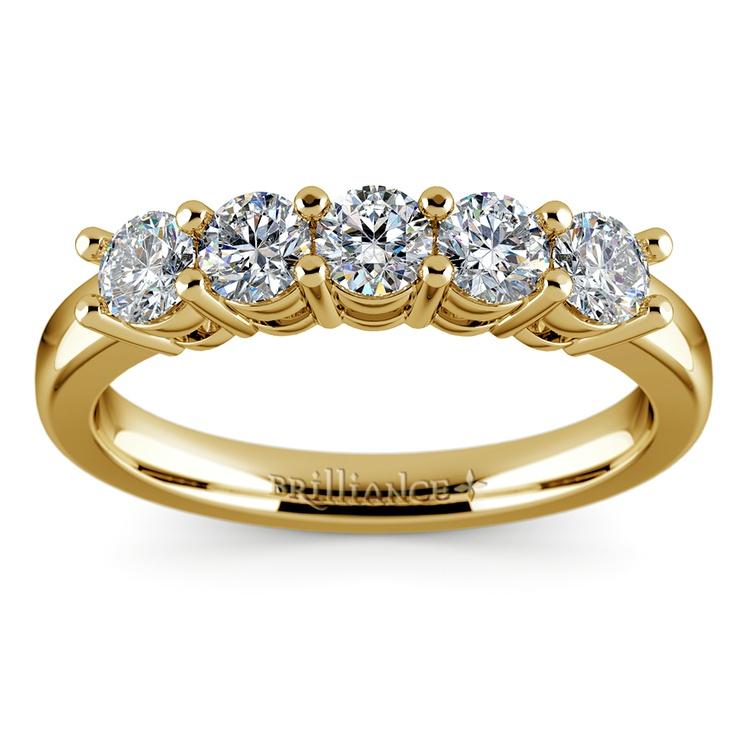 Five Diamond Wedding Ring in Yellow Gold (3/4 ctw) | 02