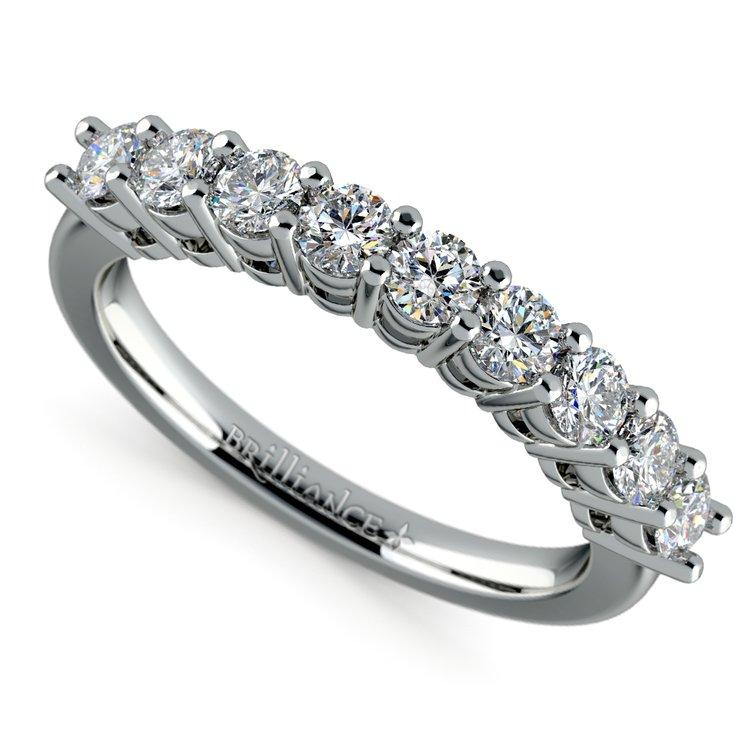 Nine Diamond Wedding Ring in White Gold (3/4 ctw) | 01