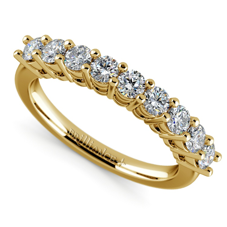 Nine Diamond Wedding Ring in Yellow Gold (3/4 ctw) | 01