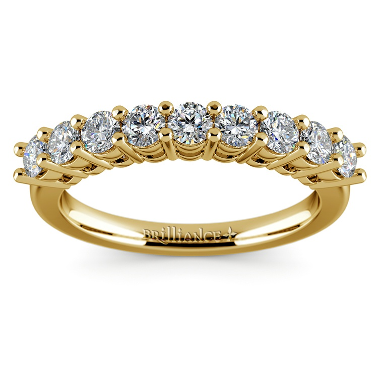 Nine Diamond Wedding Ring in Yellow Gold (3/4 ctw) | 02
