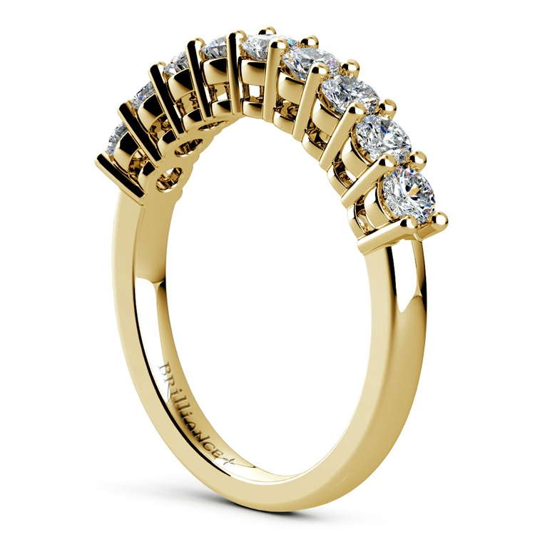 Nine Diamond Wedding Ring in Yellow Gold (3/4 ctw) | 04