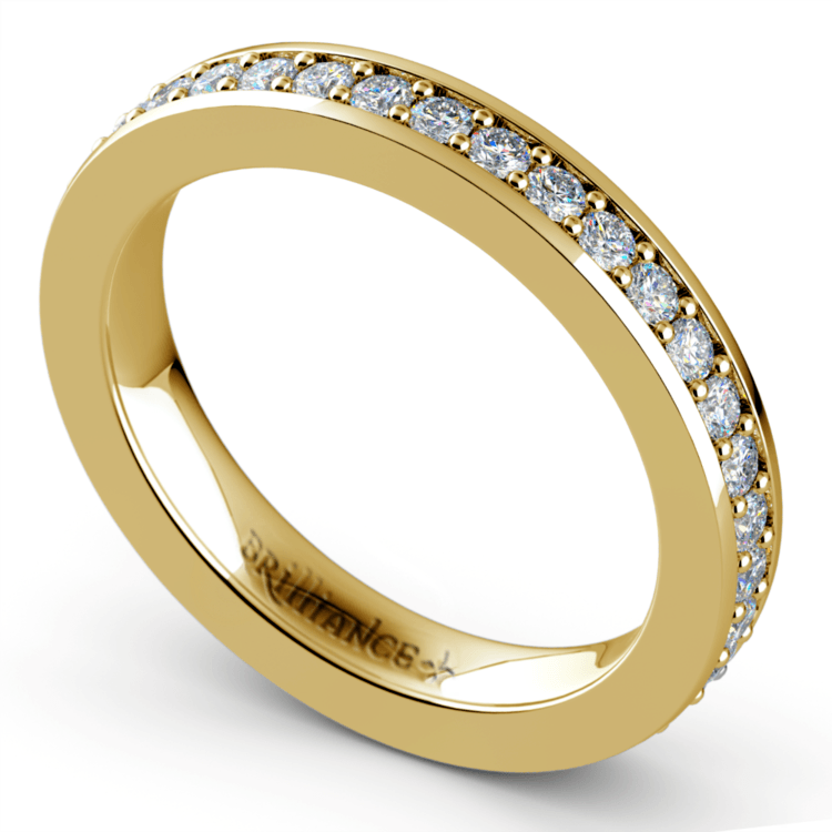 Pave Eternity Diamond Ring in Yellow Gold (3/4 ctw) | 01