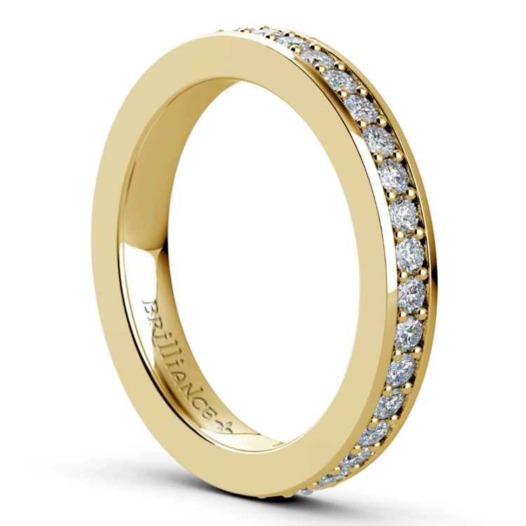 Pave Eternity Diamond Ring in Yellow Gold (3/4 ctw) | 04