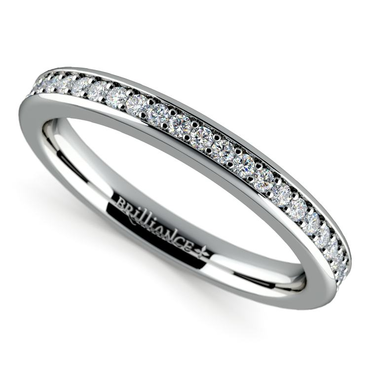 Pave Diamond Wedding Ring in White Gold  | 01