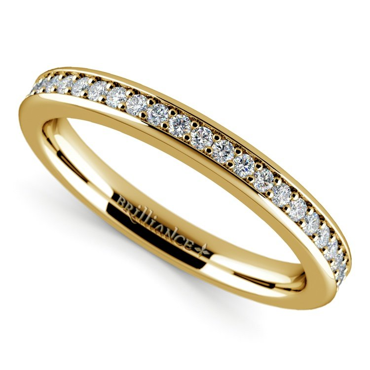 Pave Diamond Wedding Ring in Yellow Gold | 01