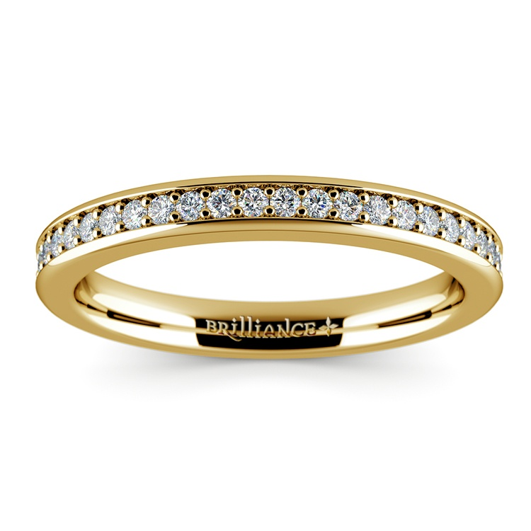 Pave Diamond Wedding Ring in Yellow Gold | 02